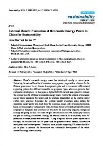 External Benefit Evaluation of Renewable Energy Power in China for ...
