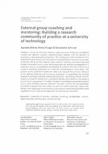 External group coaching and mentoring: Building a ...