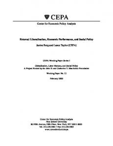 External Liberalization, Economic Performance, and Social Policy