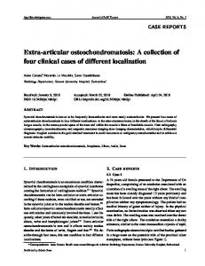 Extra-articular osteochondromatosis - Sciedu Press