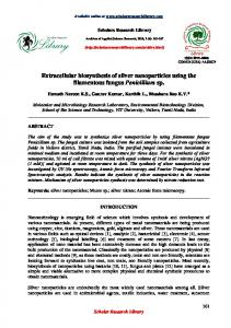 Extracellular biosynthesis of silver nanoparticles using the filamentous ...