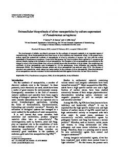 Extracellular biosynthesis of silver nanoparticles by culture ...