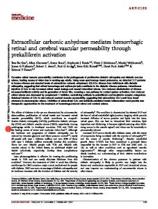 Extracellular carbonic anhydrase mediates hemorrhagic retinal and ...