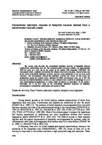 Extracellular hydrolytic enzymes of halophilic bacteria isolated from a ...