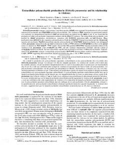 Extracellular polysaccharide production by Klebsiella ...