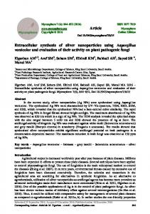 Extracellular synthesis of silver nanoparticles using ... - Mycosphere