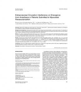 Extracorporeal Circulation Interference on Emergence from ... - SciELO