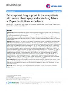 Extracorporeal lung support in trauma patients with ... - Springer Link