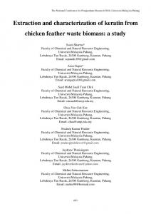 Extraction and characterization of keratin from chicken ...