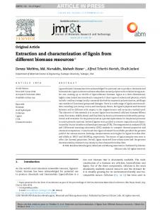 Extraction and characterization of lignin from different