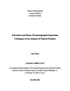 Extraction and Planar Chromatographic Separation ... - E-thesis