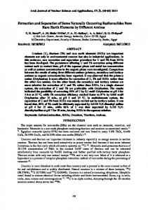 Extraction and Separation of Some Naturally Occurring Radionuclides ...