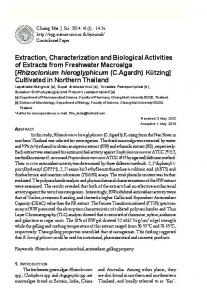 Extraction, Characterization and Biological
