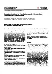 Extraction Conditions for Phenolic Compounds with ... - ScienceCentral