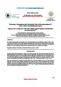 Extraction, fractionation and Cytotoxicity Test of Merremia peltata (L ...