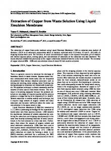 Extraction of Copper from Waste Solution Using Liquid Emulsion