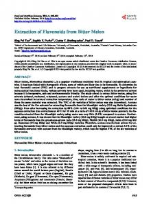 Extraction of Flavonoids from Bitter Melon - Scientific Research ...
