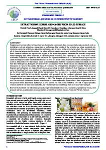 extraction of herbal aroma oils from solid surface - Pharmacie Globale