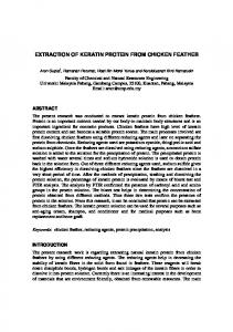 extraction of keratin protein from chicken feather - Semantic Scholar
