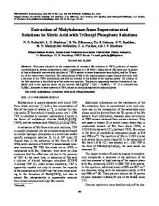 Extraction of Molybdenum from Supersaturated Solutions in Nitric Acid