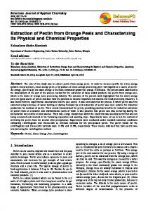 Extraction of Pectin from Orange Peels and Characterizing Its Physical