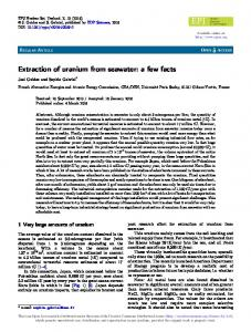 Extraction of uranium from seawater: a few facts - EPJ N