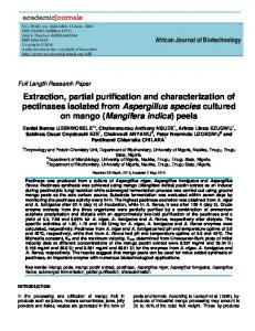 Extraction, partial purification and characterization of pectinases ...