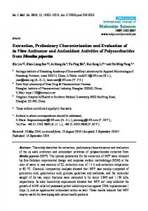 Extraction, Preliminary Characterization and