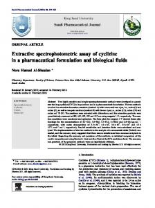 Extractive spectrophotometric assay of cyclizine in a ... - Core