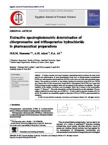 Extractive spectrophotometric determination of chlorpromazine ... - Core