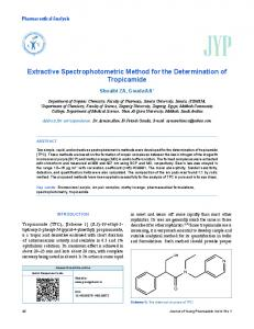 Extractive Spectrophotometric Method for the Determination of ...