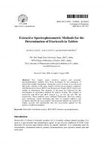 Extractive Spectrophotometric Methods for the Determination of
