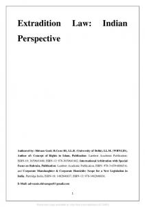 Extradition Law: Indian Perspective - Papers.ssrn.com