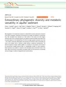 Extraordinary phylogenetic diversity and metabolic ... - BioMedSearch