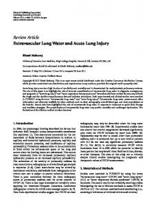 Extravascular Lung Water and Acute Lung Injury