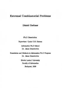 Extremal Combinatorial Problems