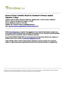 Extreme Climate Variability Should be Considered in ...