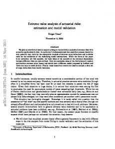 Extreme value analysis of actuarial risks: estimation and model