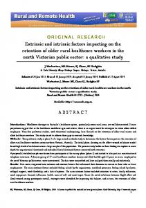 Extrinsic and intrinsic factors impacting on the ... - Semantic Scholar