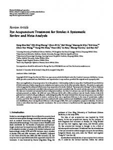 Eye Acupuncture Treatment for Stroke: A Systematic Review and Meta