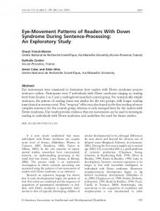 Eye-Movement Patterns of Readers With Down