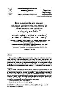 Eye movements and spoken language comprehension - CiteSeerX