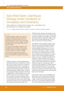 Eyes Wide Open: Learning as Strategy Under Conditions of ...