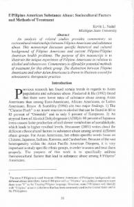 F/Pilipino American Substance Abuse: Sociocultural ...