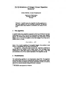 f0;1g-Solutions of Integer Linear Equation Systems?