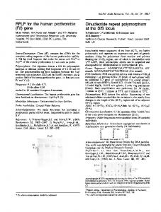 (F2) gene Dinucleotide repeat polymorphism - Europe PMC