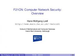 F21CN: Computer Network Security: Overview