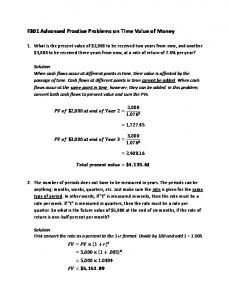 F301 Advanced Practice Problems on Time Value of Money