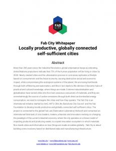 Fab City Whitepaper Locally productive, globally connected ...