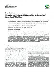Fabrication and Antibacterial Effects of Polycarbonate/Leaf Extract ...